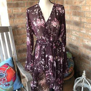 Floral chiffon kimono duster. Plus size
